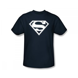 Superman - Navy & White Shield Adult T-Shirt In Navy