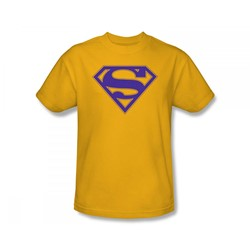 Superman - Purple & Gold Shield Adult T-Shirt In Gold