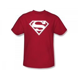 Superman - Red & White Shield Adult T-Shirt In Red