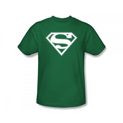 Superman - Green & White Shield Adult T-Shirt In Kelly Green