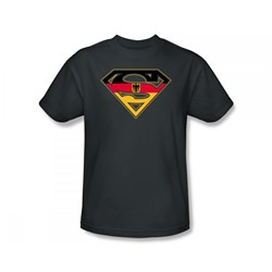 Superman - German Shield Adult T-Shirt In Charcoal