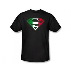 Superman - Italian Shield Slim Fit Adult T-Shirt In Black