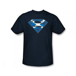 Superman - Scottish Shield Slim Fit Adult T-Shirt In Navy