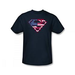 Superman - U.S. Shield Slim Fit Adult T-Shirt In Navy