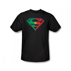 Superman - Portugal Shield Slim Fit Adult T-Shirt In Black