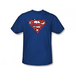 Superman - Ripped And Shredded Slim Fit Adult T-Shirt In Royal
