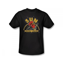 Sun Records - Rocking Rooster Slim Fit Adult T-Shirt In Black
