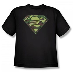 Superman - Camo Logo Youth T-Shirt In Black