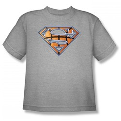 Superman - Basketball Shield Youth T-Shirt In Heather
