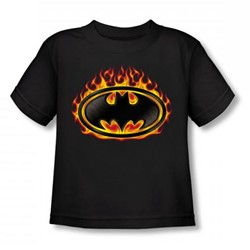 Batman - Bat Flames Shield Toddler T-Shirt In Black