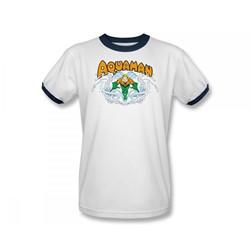 Aquaman Splash Adult Ringer S/S T-shirt in White/Navy by DC Comics