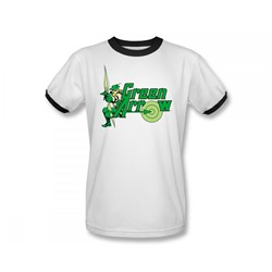 Green Arrow Adult Ringer S/S T-shirt in White/Black by DC Comics