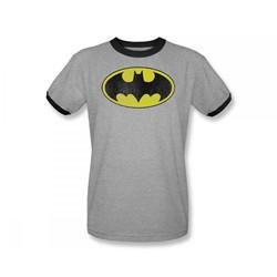 Batman Retro Bat Logo Distressed Adult Ringer S/S T-shirt in Heather/Black by DC Comics