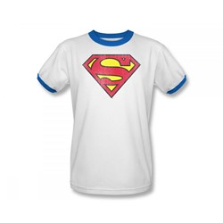 Superman Retro Supes Logo Distressed Adult Ringer S/S T-shirt in White/Royal by DC Comics