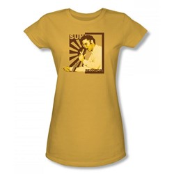 Sun Records - Elvis On The Mic Juniors T-Shirt In Gold
