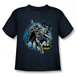Justice League - Batman Collage Juvy T-Shirt In Navy