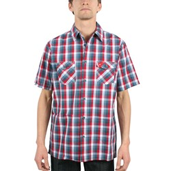Famous Stars and Straps - Mens Preeminent Buttondown Woven in Red/Grey