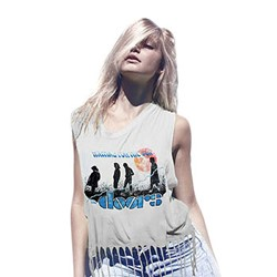 The Doors - Juniors Waiting Sun Fringe Top T-Shirt In Black