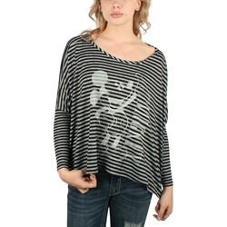 Mighty Fine - Womens Mickey Ta-Da Longsleeve T-Shirt In Black/Charcoal Stripe
