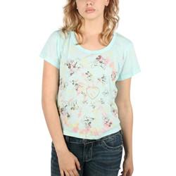 Mighty Fine - Womens Mick & Minnie Tie Dye Boxy T-Shirt In Aqua Blue
