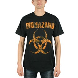 Biohazard - Distressed Logo Mens T-Shirt In Black