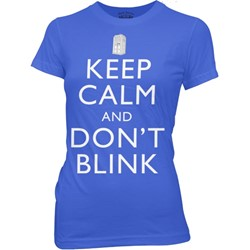 Dr. Who - Keep Calm and Don't Blink Juniors T-shirt in Royal