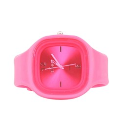 Sweet Silicon Band Round Square Watch in Hot Pink