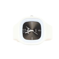 Sweet Silicon Band Round Square Watch in White/Black