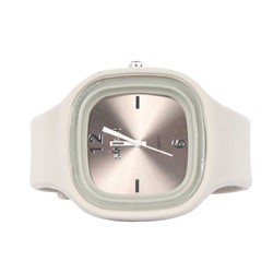 Sweet Silicon Band Round Square Watch in Pewter