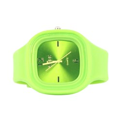 Sweet Silicon Band Round Square Watch in Lime