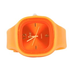 Sweet Silicon Band Round Square Watch in Orange