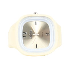 Sweet Silicon Band Round Square Watch in Off White