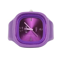 Sweet Silicon Band Round Square Watch in Purple
