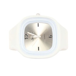 Sweet Silicon Band Round Square Watch in White/Silver
