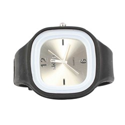 Sweet Silicon Band Round Square Watch in Black/Silver