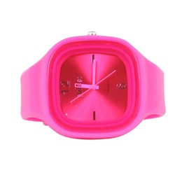 Sweet Silicon Band Round Square Watch in Fuchsia