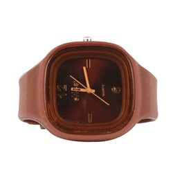 Sweet Silicon Band Round Square Watch in Brown