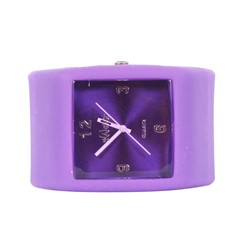 Sweet Square Rocker Silicon Band Watch in Purple
