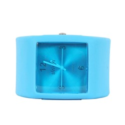 Sweet Square Rocker Silicon Band Watch in Sky Blue
