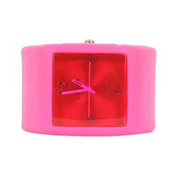 Sweet Square Rocker Silicon Band Watch in Fuchsia