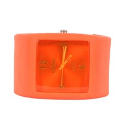 Sweet Square Rocker Silicon Band Watch in Orange