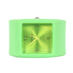 Sweet Square Rocker Silicon Band Watch in Lime