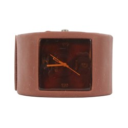 Sweet Square Rocker Silicon Band Watch in Brown