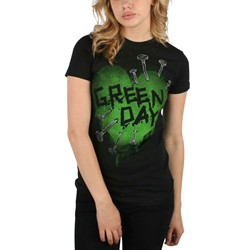 Green Day - Nail Heart Girls T-Shirt In Black