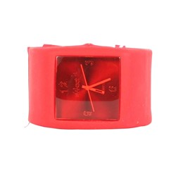 Sweet Square Rocker Silicon Band Watch in Red