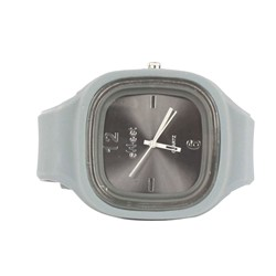 Sweet Silicon Band Round Square Watch in Grey