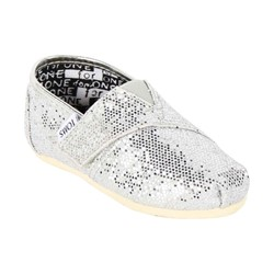 Toms - Tiny  Classic Glitter Shoes in Silver