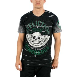 Affliction - Mens  Ac Renegades SS V-Neck T-Shirt In Black Blind Wash