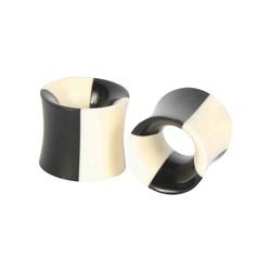 Black/White Stripe Tunnel Double Flare Plug