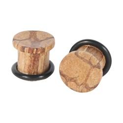 Light Wood Solid Wood Single Flare Plug
